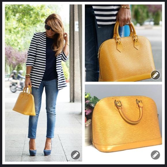 6d1c5701f36 Authentic Vintage Louis Vuitton Yellow Epi Alma PM